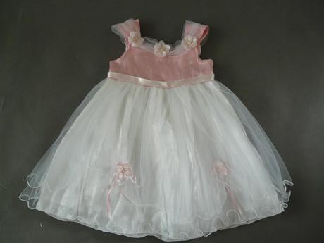 Bílo-růžové šaty na vítání občánků, svatby, 80