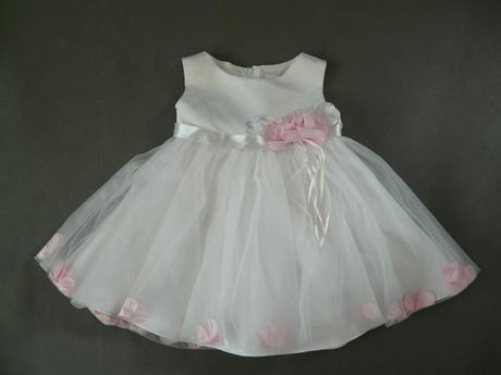 Bílo-růžové šaty na vítání občánků, svatby, půjčov, 98