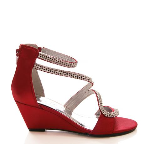 Burgundy saténové svatební, společenské boty, 38