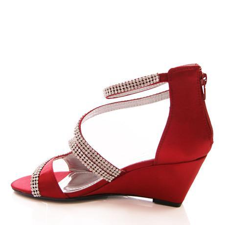 Burgundy saténové svatební, společenské boty, 41