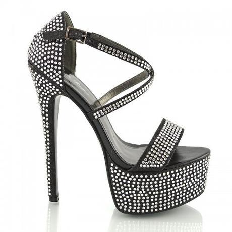 BW-1, extravagantní černé plesové sandálky, 36-41, 37