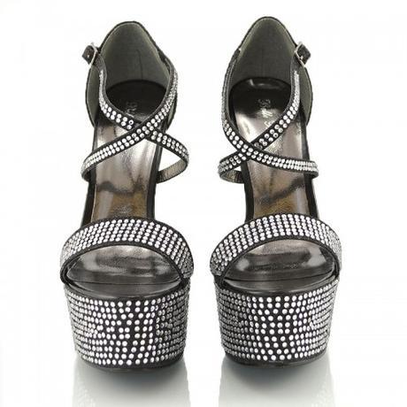 BW-1, extravagantní černé plesové sandálky, 36-41, 39