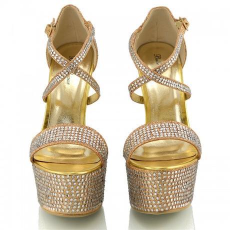 BW-1, extravagantní zlaté plesové sandálky, 36-41, 36