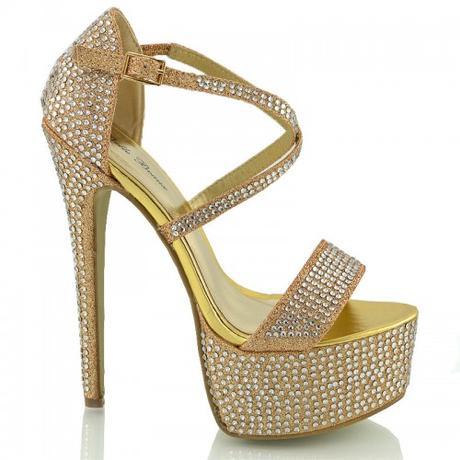 BW-1, extravagantní zlaté plesové sandálky, 36-41, 37