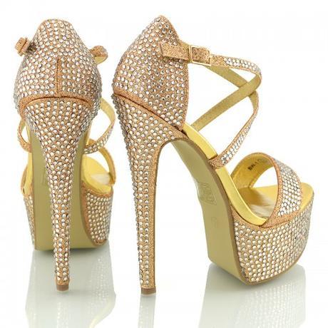 BW-1, extravagantní zlaté plesové sandálky, 36-41, 41