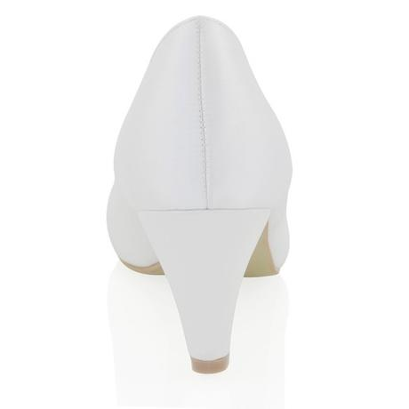 CANDICE - bílé saténové lodičky, nízký podpatek, 36