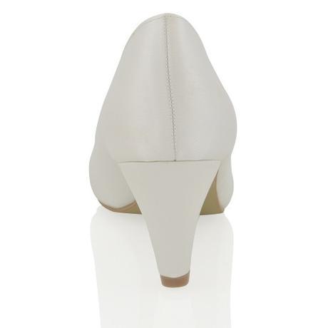 CANDICE - bílé saténové lodičky, nízký podpatek, 37