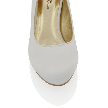 CANDICE - bílé saténové lodičky, nízký podpatek, 38