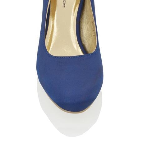 CANDICE - modré saténové lodičky, nízký podpatek, 37