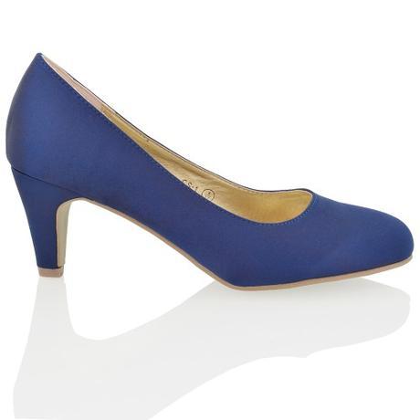 CANDICE - modré saténové lodičky, nízký podpatek, 38