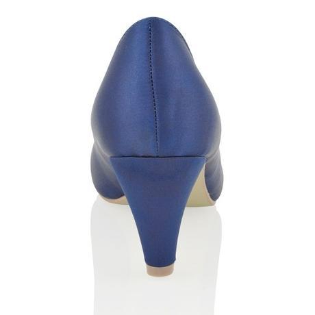 CANDICE - modré saténové lodičky, nízký podpatek, 39