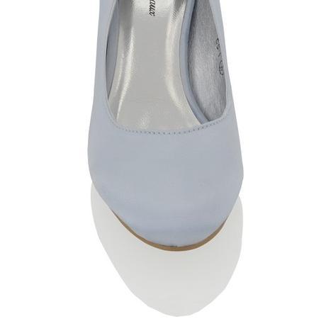 CANDICE - modré saténové lodičky, nízký podpatek, 41