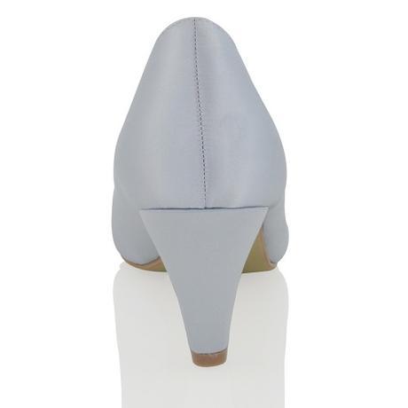 CANDICE - stříbrn saténové lodičky, nízký podpatek, 37