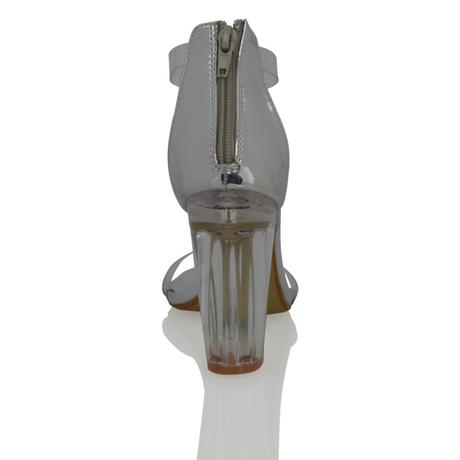 CARMEN - stříbrné, průhledný podpatek, 36-41, 36