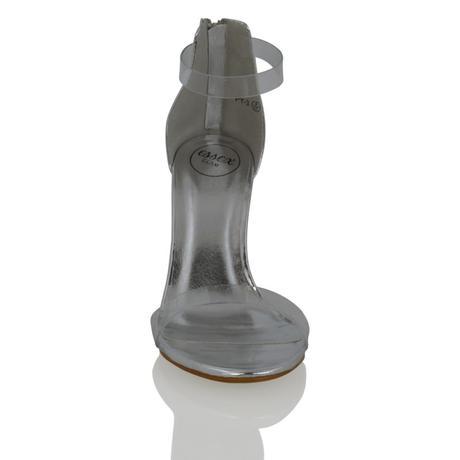 CARMEN - stříbrné, průhledný podpatek, 36-41, 37