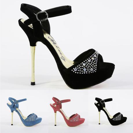 Černé extravagantní sandálky, 14cm podpatek, 36-41, 36