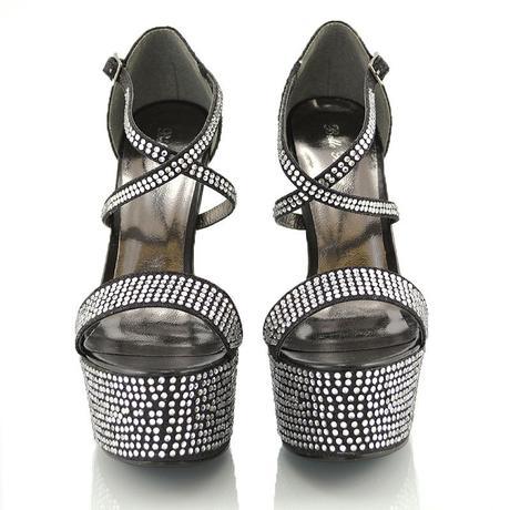 Černé extravagantní sandálky, 17cm podpatek, 36-41, 37