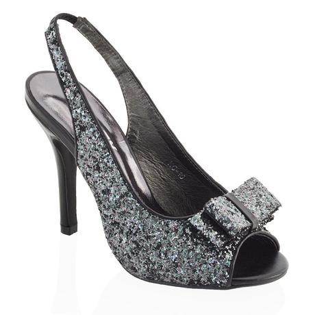 Černé flitrované společenské sandálky, 36-41, 38