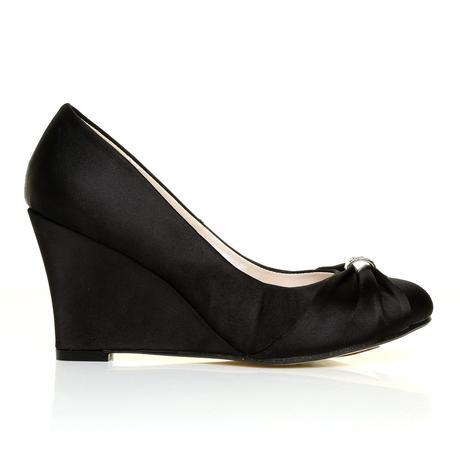 Černé saténové společenské boty, klínek, 36-41, 36