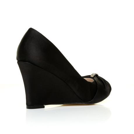 Černé saténové společenské boty, klínek, 36-41, 37