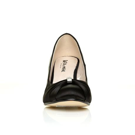 Černé saténové společenské boty, klínek, 36-41, 38