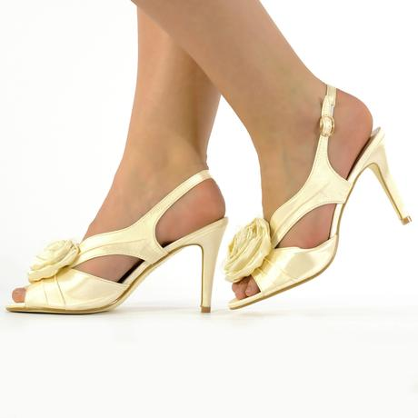 Černé saténové společenské sandálky, 36-41, 37