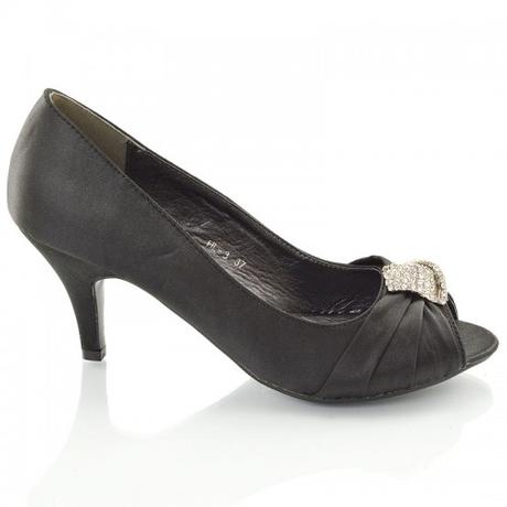 Černé saténové společenské sandálky, 36-41, 38