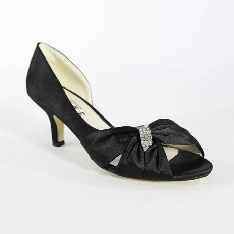 Černé saténové společenské sandálky, 36-41, 40