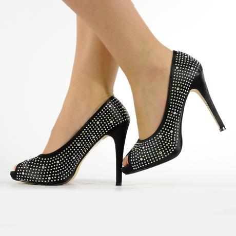 Černé společenské, plesové sandálky, 36-41, 36