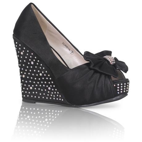 Černé společenské, plesové sandálky, klínek, 36-41, 36
