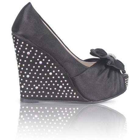 Černé společenské, plesové sandálky, klínek, 36-41, 38