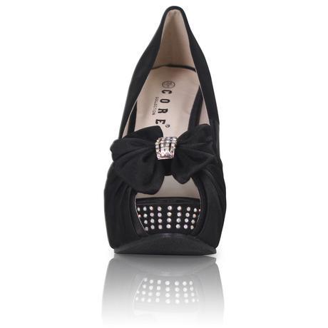 Černé společenské, plesové sandálky, klínek, 36-41, 39