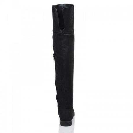 Černé vysoké kozačky, nízký podpatek, 36-41, 38