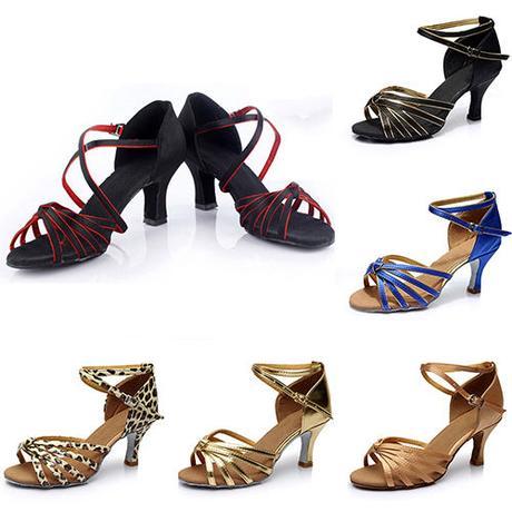 Černo-zlaté společenské taneční sandálky, 35-41, 35