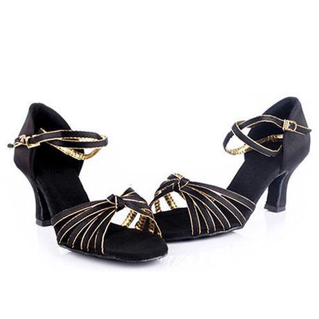 Černo-zlaté společenské taneční sandálky, 35-41, 36