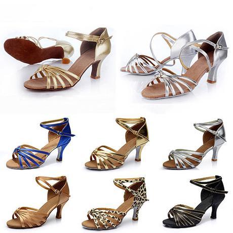 Černo-zlaté společenské taneční sandálky, 35-41, 39
