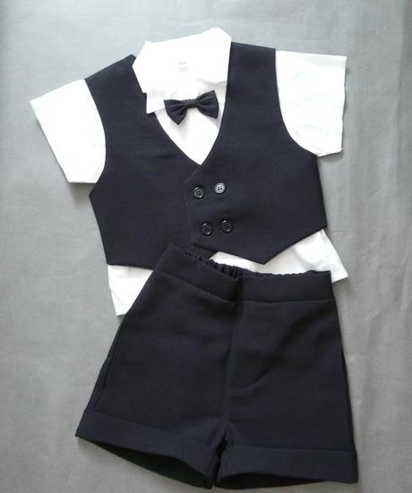 Černý letní oblek 1-2 roky - půjčovné, 86