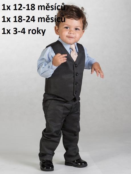 Černý oblek s proužkem, 12-18m - půjčovné, 86