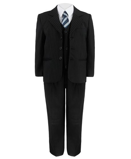 Černý oblek s proužkem, modrá kravata 5-6 let, 116