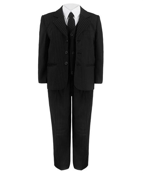 Černý proužkatý oblek - 3-4 roky, 110