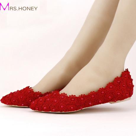 Červené kytičkové baleríny, 22-25,5cm, 40