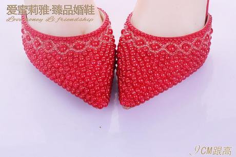 Červené perličkové lodičky, 34-41, 38