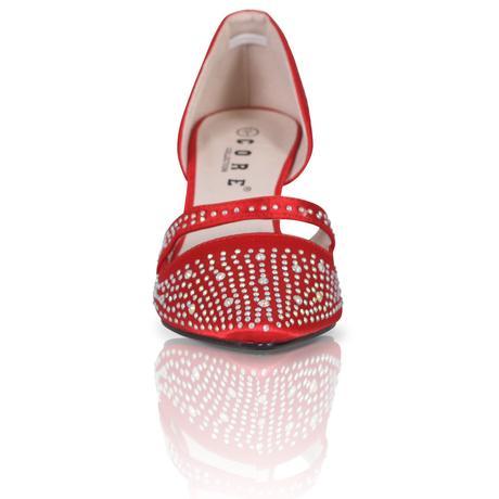 Červené saténové lodičky, 7,5cm podpatek, 36-41, 38