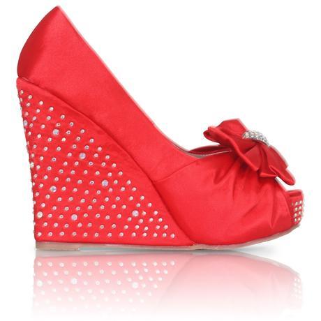 Červené saténové svatební boty, klínek, 36-41, 37