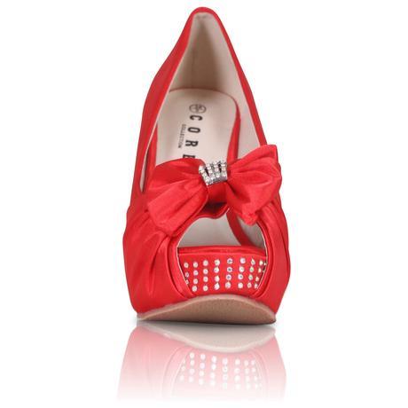 Červené saténové svatební boty, klínek, 36-41, 39