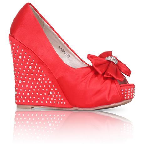Červené saténové svatební boty, klínek, 36-41, 40