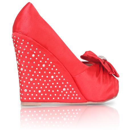 Červené saténové svatební boty, klínek, 36-41, 41