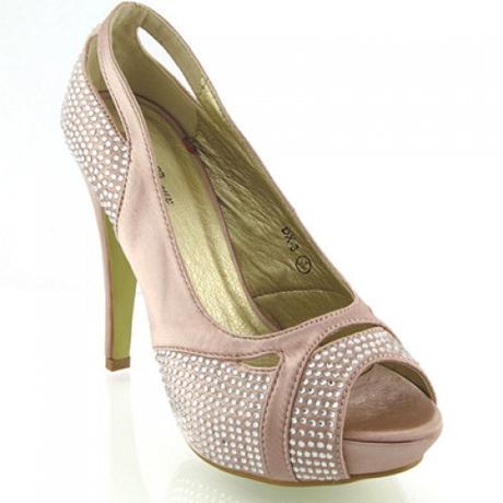 Champag saténové svatební lodičky, sandálky, 36-41, 37