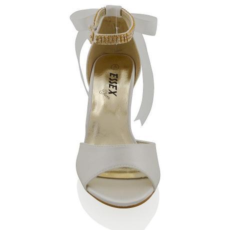 CLARA - bílé svatební sandálky s mašlí, 36-41, 37