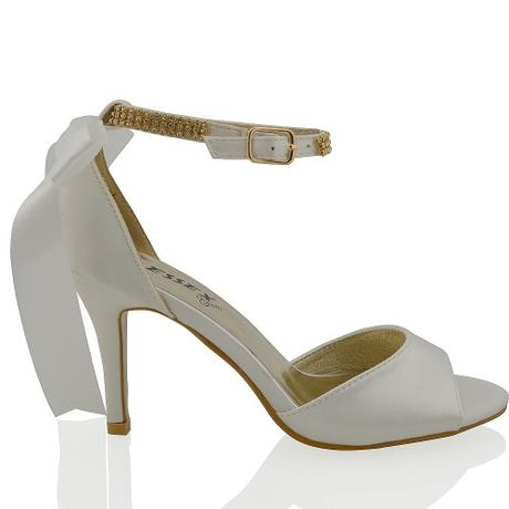 CLARA - bílé svatební sandálky s mašlí, 36-41, 38